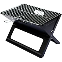 Notebook Folding Grill - Portable Picnic BBQ with Chrome Plated Cooking Grid (Black)