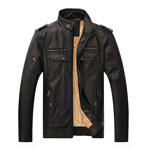 Lederjacke Herren Winter Wärm Plus Samt Vintage Biker Jacke PU Leder Lose Stehkragen Zipper Mantel Männer