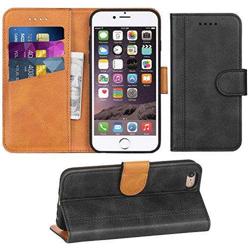 Adicase iPhone 6 Hülle Leder Wallet Tasche Flip Case Handyhülle Schutzhülle für Apple iPhone 6 / 6S 4,7 Zoll (Dunkelgrau) Leder Apple Wallet