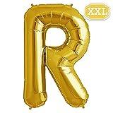 XXL Folienballon Buchstaben Gold [ ca.100cm ] , Buchstaben ballon für Geburtstag Jubiläum & Party Geschenk Dekoration Folienballons Luftballons Zahl ballon Happy Hochzeit Birthday [ A ~ Z ] (GOLD[R])