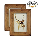 icheesday 4x 6Holz Bilderrahmen Set von 2, handgefertigt massiv Holz natur Echt Glas Front für Tisch Top Display und Wandmontage–Bilderrahmen von