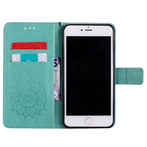 Für Apple IPhone 7 Plus Case, Prägen Sonnenblumen Magnetic Pattern Premium Soft PU Leder Brieftasche Stand Case Cover mit Lanyard & Halter & Card Slots ( Color : Brown ) Green