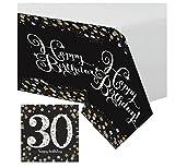Feste Feiern Geburtstagsdeko Zum 30 Geburtstag I 17 Teile All In One Set Servietten Tischdecke Gold Schwarz Silber Party Deko Happy Birthday