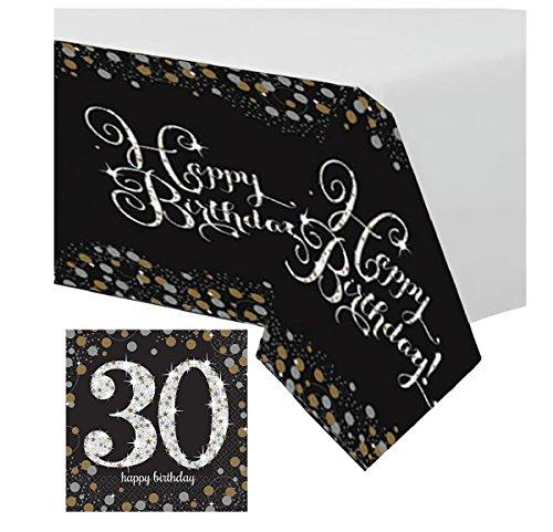 Feste Feiern Tischdekoration 30. Geburtstag   17 Teile Deko-Set Tischdecke Servietten Gold Schwarz Silber Party Set Happy Birthday 30 (Teller Servietten 30. Geburtstag Und)