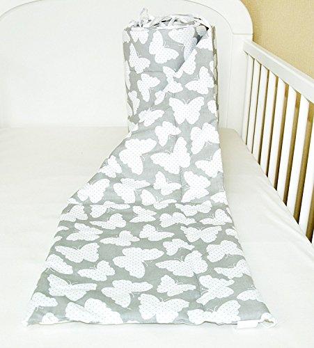 Bettumrandung Nest Kopfschutz Nestchen 420x30cm, 360x30cm, 180x30 cm Bettnestchen Baby Kantenschutz Bettausstattung Schmetterling grau (A27) (180x30cm)