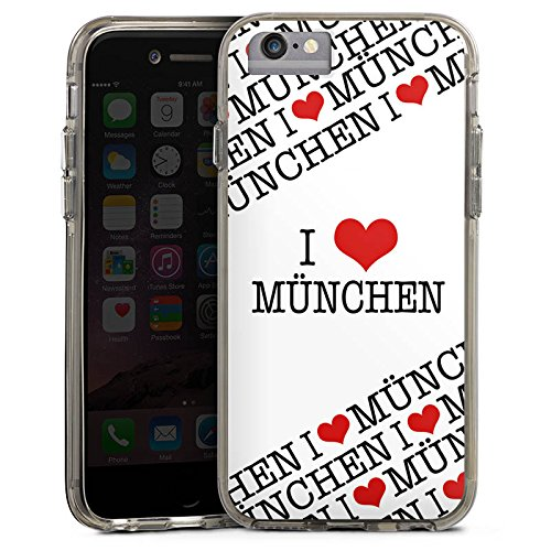 Apple iPhone 7 Bumper Hülle Bumper Case Glitzer Hülle Bavaria Bayern Statement Bumper Case transparent grau
