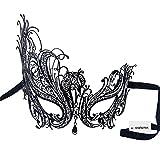 Signstek - Maschera di carnevale veneziana in metallo con cristalli, taglio laser, colore: nero