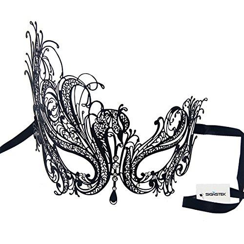 Preisvergleich Produktbild Signstek Sexy Laser-Cut Metall Schwarz venezianischen Maskerade-Maske mit Kristallen (schwarz mit weißstraß)