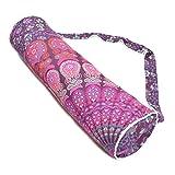 Borsa da trasporto per tappetino da yoga, multicolore, realizzata a mano, stile mandala, indiano, hippie, boho, in cotone, con tracolla, Purple, L