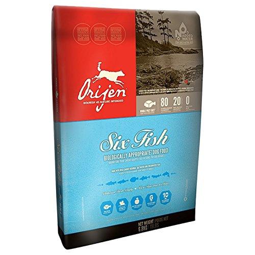 Orijen Six Fish Cane Cibo secco biologico con pesce come unica fonte proteica, adatto anche in caso di intolleranze. Ridotto apporto di carboidrati, alta quantità di acidi grassi Omega 3, senza cereali.