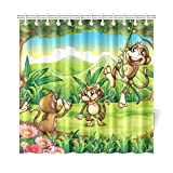 Hauptdekor-Bad-Vorhang-Abbildung der Affen, die im Wald Spielen Polyester-Gewebe-wasserdichter Duschvorhang für Badezimmer, 72 x 72 Zoll-Duschvorhang-Haken eingeschlossen