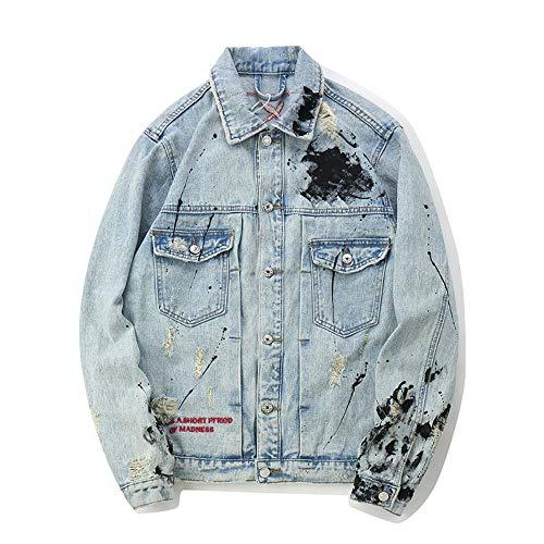 Männer Persönlichkeit Hip Hop Stickerei Splash Tinte Loch Karte lose große Größe Jeansjacke (Color : Blue, Size : M)
