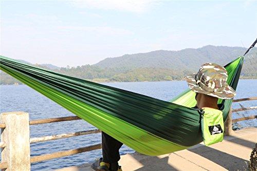 NatureFun Ultraleichte Camping Hängematte / 300kg Tragfähigkeit, (300 x 140 cm) Atmungsaktiv, schnell trocknende Fallschirm Nylon - 5
