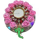PN Pink Flower Decorative Shri Ganesh Diwali Thali With Diwali Candle