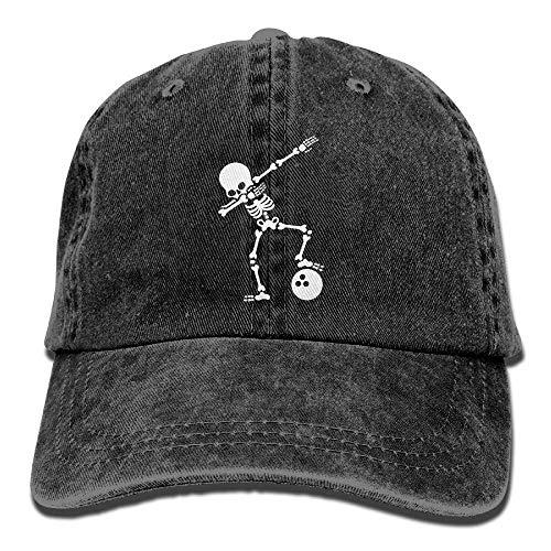Ingpopol Men&Women Adjustable Denim Fabric Baseball Caps Skeleton Dabbing Bowling Ball Snapback Cap - Camo Knit Beanie