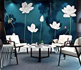 HONGYUANZHANG Künstlerische Landschaft Fernsehhintergrundtapete Der Schönen Weißen Blume Kundenspezifische Foto-Tapete 3D,80Inch (H) X 112Inch (W)