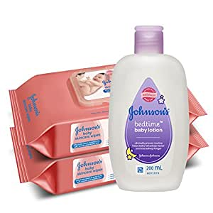 Johnsons Baby Skincare Wipes (Pack of 2, 80 Sheets per Pack) with Free Johnson's Bedtime Baby Lotion (200ml)