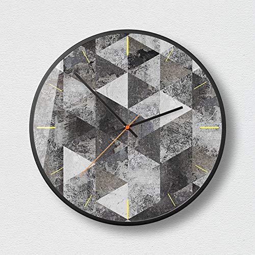 c Wanduhr Große Wanduhr Stille für Küche/Schlafzimmer/Wohnzimmer / 50 Grad grau Geometrie Mode wanduhr 12 Zoll-B ()