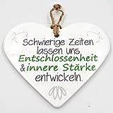 WBWT Keramik Herz ~ Entschlossenheit und innere Stärke ~ zum Hängen und Legen ~ ca 15cm