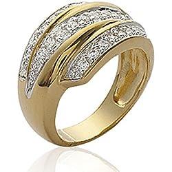 ISADY - Lura Gold - Bague Femme - Plaqué Or 750/000 (18 carats) - Oxyde de zirconium transparent -Taille 58