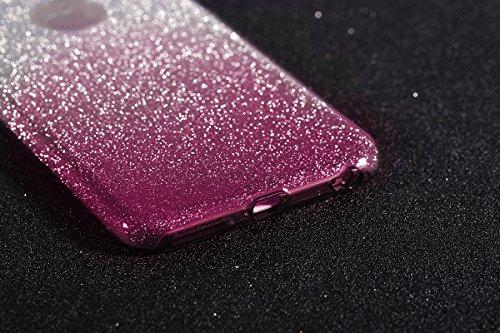 iPhone 6 Plus Coque Silicone Transparent,iPhone 6S Plus Coque TPU,JAWSEU Luxury Placage Rose Or Éclat Brillant avec Diamant en Silicone Téléphone Shell Coque Étui,Bling Sparkle Flash Scintillant Stras rose/sparkle
