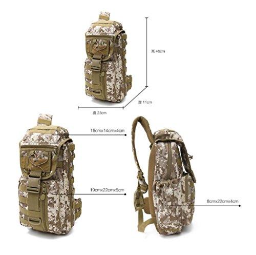 LJ&L Outdoor Multifunktions-Bergsteigen Tasche Camouflage einzigen Schultertasche gehen Camping taktischen Rucksack, 36-55L Nylon wasserdicht reißfeste hochwertige Outdoor-Rucksack A