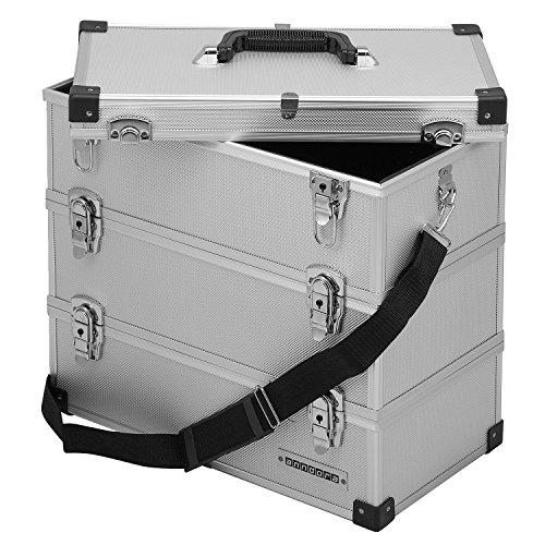 anndora® Werkzeugkoffer 32 Liter Angelkoffer Etagenkoffer 3 Ebenen Silber Alu - 3