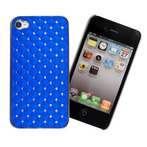 Strass Bleu foncé Coque arrière de luxe pour iPhone 4/4 g/4S avec film protecteur d'écran chiffon de nettoyage &Connect Zone ®