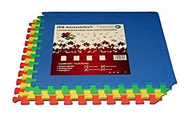 JSG Accessories® Outdoor/Indoor Protective Flooring Mats - Interlocking Reversible Floor Matting suitable for Gym, Play Area, Exercise, Yoga in MULTICOLOUR (Red, Blue, Gree, Yellow) 4 pack, 16 pack, 32 pack , 48 pack