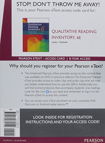 Qualitative Reading Inventory, Enhanced Pearson eText -- Access Card