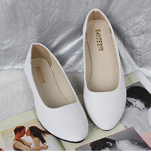 LvYuan Scarpe da donna / pelle scamosciata / ufficio & carriera / tacco piatto / comodità casual / moda casual / mocassini & scarpe da ginnastica / scarpe pigro camminate White