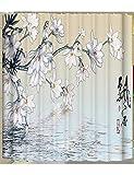 ZBB Duschvorhang Rideau Vorhang Weiß Abgeschottet Duschvorhang Moisture-Proof in Blei Mehr Schweren Vorhang gefederte Haken Oben Badezimmer (Farbe E Größe: 180 * 200 cm)