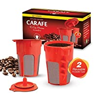 2 Refillable/Reusable K-Carafe Cup Filters by Housewares Solutions for Keurig 2.0: K200, K300, K400, K500 Series of Brewing Machines (2-Pack)