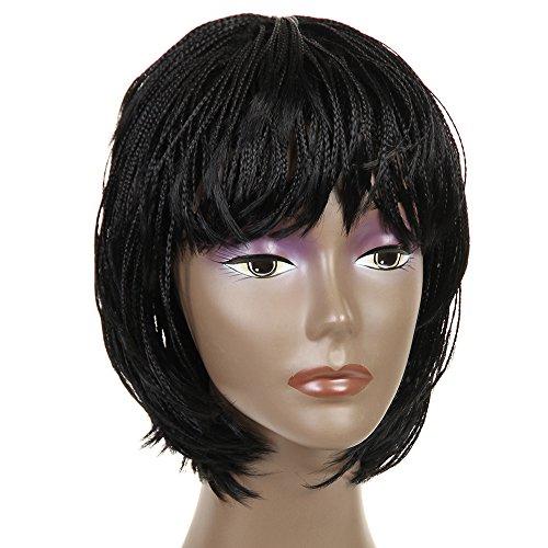 NEWFB perruques en dentelle synthétique perruques tressées pour petites femmes perruques courtes 12 pouces(#1)