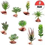 YuChiSX 9 Pezzi Piante Grasse Finte Decorative,Piante Succulente Artificiali Verde Flower Succulente per Interni/Esterni Fai da Te Disposizione Floreale Decorazione della Casa