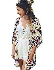 Culater® Mujeres Tops Cardigan Chal de Gasa Kimono Impresos Encubrir Blusa