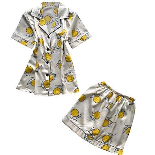 n Frauen 2 Stücke Sommer Pyjamas Kurzarm Shorts Pyjamas Lose Nachtwäsche Homewear Damen Hauspyjama Zweiteilig (Weiß,M) ()