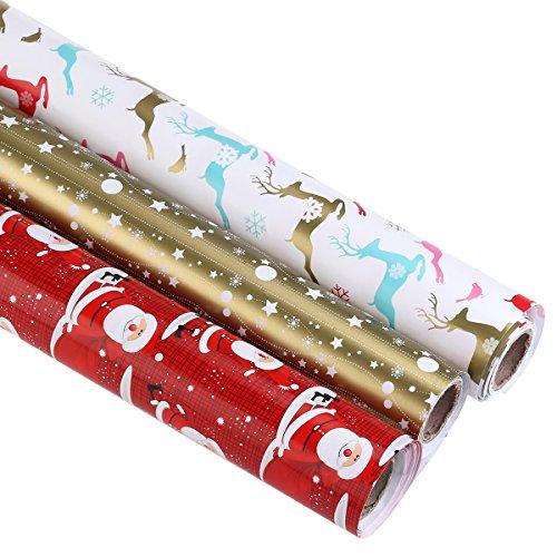 BESTOYARD Geschenkpapier Weihnachten Geschenkpapier Red Gold Colorful Geschenkpapier 3 Rollen