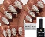 Vernis à ongles gel UV LED Soak Off 10ml, Blue Sky Edelweiss KA4320 - À paillettes argentées et blanches avec 2lingettes - Par LuvliNail