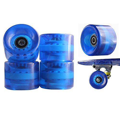 77 SPORT © 1 Set 4x Rollen für Penny-board Long-board Retro Skate-board und Mini Cruiser Board mit Kugellager ABEC-7 Skate Longboard Kugellager Shop Rollerblade Profi (ABEC-7, Blau durchsichtig transparent)