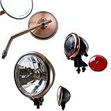 BISOMO SET: Motorrad Scheinwerfer + LED Rücklicht + Spiegel im -Bates-Style- mit Prüfzeichen