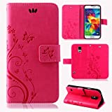 betterfon | Flower Case Handytasche Schutzhülle Blumen Klapptasche Handyhülle Handy Schale für Samsung Galaxy S5 / S5 NEO Pink