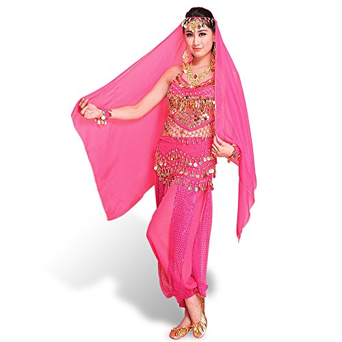 SymbolLife Belly Indian Dance costumes, Bauchtanz kostüm damen indischen Tanzkleidung Tanzkostüme Fasching Kostüme Darbietungen Kleidung Das Obere + Pluderhosen + Gürtel+ Kopf Kette - Indische Kostüm Schuhe