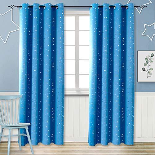 ckdicht Sterne mit Ösen Gardine Thermo isoliert für Baby, Kinderzimmer,Blau Verdunkelungsvorhänge 1 Paar (H 245 X B 140cm,Blau) ()