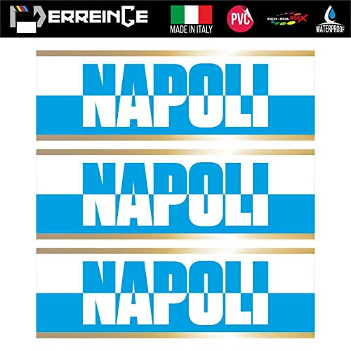 erreinge Sticker x3 Napoli Ultras Supporters Adesivo Sagomato in PVC per Decalcomania Parete Murale Auto Moto Casco Camper Laptop - cm 10