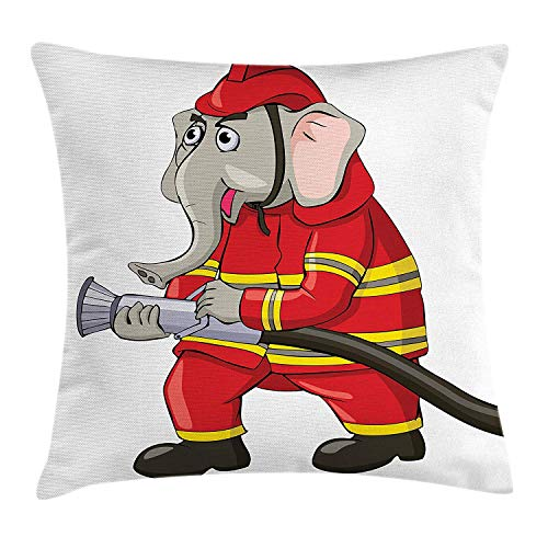 Trsdshorts Fireman Throw Pillow Cushion Cover, Cartoon Elephant Firefighter with a Hose Funny Character with Trunk and Giant Ears, Decorative Square Accent Pillow Case, 18 X 18 inches, Multicolor Elephant Hose