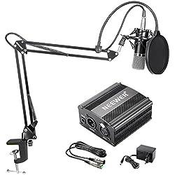 Neewer NW-700 Kit de Micrófono de Condensador - Micrófono Negro, Fuente de Alimentación Negra de 48V Phantom, Soporte de Brazo de Tijeras de Auge NW-35 con Montaje de Choque y Filtro de Estallido, Cable XLR Macho a Hembra para Grabación Casera Estudio
