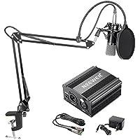 Neewer NW-700 Kondensator-Mikrofon-Kit, Schwarzer Mikrofon, Schwarze 48V Phantomspeisung, NW-35 Scherenarm Ständer mit Shock Montage and Pop Filter, Audio-Kabel für Haus Studio-Aufnahme