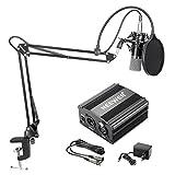 Neewer NW-700 Kondensator-Mikrofon-Kit, Schwarzer Mikrofon, Schwarze 48V Phantomspeisung, NW-35 Boom Scherenarm Ständer mit Shock Montage and Pop Filter, XLR-Stecker auf XLR-Buchse Kabel