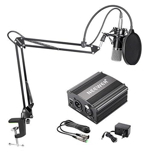 Neewer NW-700 Kondensator-Mikrofon-Kit, Schwarzer Mikrofon, Schwarze 48V Phantomspeisung,Boom Scherenarm Ständer mit Shock Montage und Pop Filter, XLR-Stecker auf XLR-Buchse Kabel für Studio-Aufnahme
